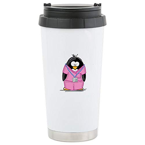CafePress Nurse Penguin Stainless Steel Travel Mug Stainless Steel Travel Mug, Insulated 16 oz. Coffee Tumbler