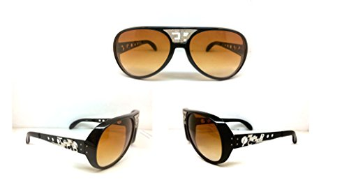 ELVIS SUNGLASSES BLACK BROWN ORIGINAL WHITE EP TCB GRAND PRIX - Elvis Sunglasses Tcb