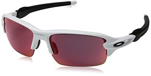Oakley Boys' Flak Xs Non-Polarized Iridium Rectangular Sunglasses, Polished White, 59.0 mm ()