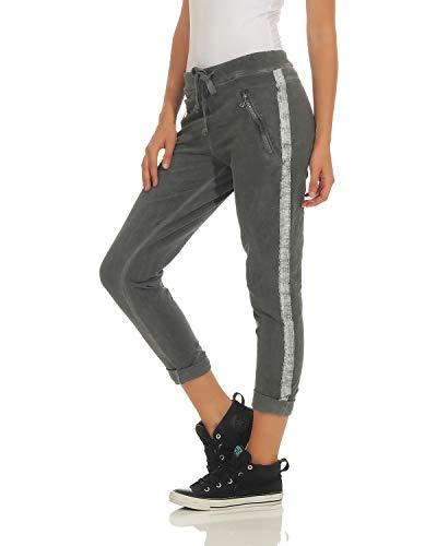 Dames Affaires avec Pantalons Gris ZARMEXX Fonc Boyfriends Incrustation Pantalon Occasionnels Pantalons Coton 816133 Anqdxpd