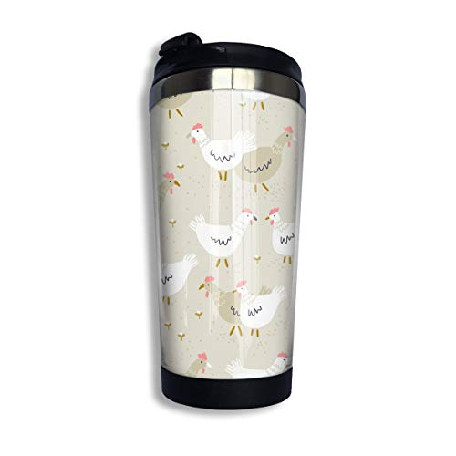 Coffee Travel Mug Simple Chicken Painting Bottle Car Tumbler Cup Iced Tea Or Water Insulated Thermal Cup Stainless Steel for Hiking, Camping & Working