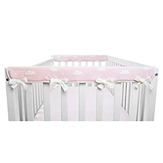 """American Baby Company 2 Pack Heavenly Soft Chenille Reversible Crib Rail Cover for Side Rails, 3D Cloud/Pink, Narrow for Rails Measuring up to 8"""" Around"""