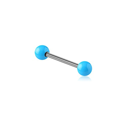 Light Blue Barbell Tongue Ring (Bubble Body Piercing Barbells And Tongue Rings - Surgical Steel Barbell With Enamel Coated Steel Ball 1.6mm Gauge 14g 1/16