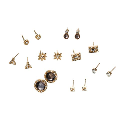 Gbell  Ear Studs for Women Alloy,Women Temperament Simple Star Geometric Ears Round Alloy Stud Earrings 8 Piece Set Fashion Gifts for Women Girls