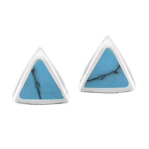 - Cute Little Triangles Simulated Turquoise Inlay on .925 Sterling Silver Stud Earrings