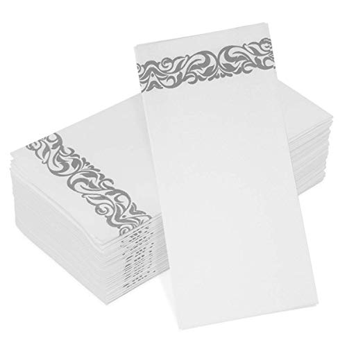 Decorative Line Feel Guest Towels Disposable Cloth Like Napkins Bathroom Hand Towels for Kitchen Powder Room Weddings Holiday Birthday Parties Dinners Cocktail Buffet Absorbent 100-Pack Silver Floral