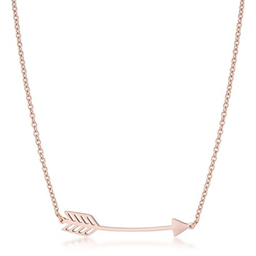 Arianna Rose Gold Stainless Steel Arrow Necklace By Kate ()