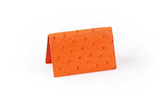 - Ostrich Business Card Case / Credit Card Case (Tangerine)