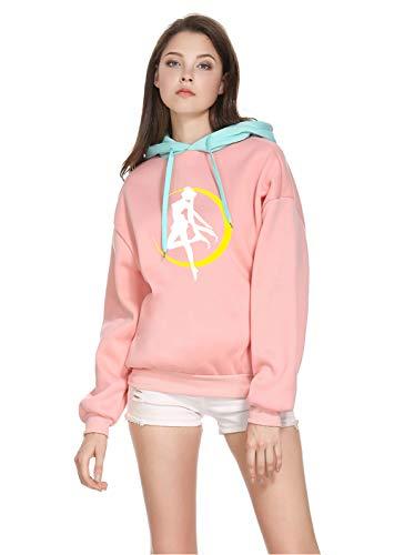 BAIMORE Japan Harajuku Anime Sailor Moon Style Print Sweater Top Cute Cosplay Pink/Blue, Medium (Sweater Japan)