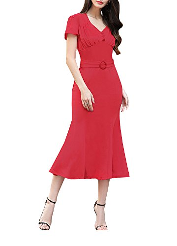 500 Vintage Style Dresses for Sale | Vintage Inspired Dresses Wicky LS Womens Short Sleeve V neck Long Fishtail Skirt £26.99 AT vintagedancer.com