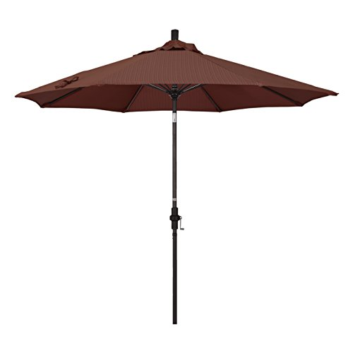 California Umbrella 9' Round Aluminum Pole Fiberglass Rib Market Umbrella, Crank Lift, Collar Tilt, Bronze Pole, Terrace Adobe Olefin