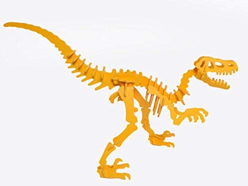 3D Velociraptor Dinosaur Puzzle in Gelb PVC by Boneyard Pets