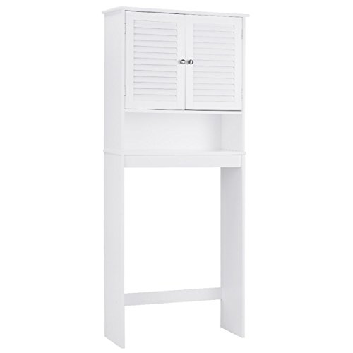 - Giantex Bathroom Over-The-Toilet Space Saver Storage with Shelf and 2-Door Cabinet, White
