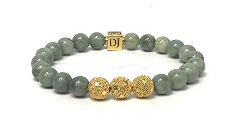 - Dan Joseph Designs Burma Jade 8mm 24k Gold Vermeil Bali Bead Bracelet