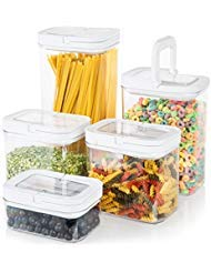 Airtight Food Storage Container Set - 5-Piece Set - Extra Large Volume - Durable Plastic - BPA Free - Clear Plastic with Clear Lids - Great Pantry and Drawer Organization
