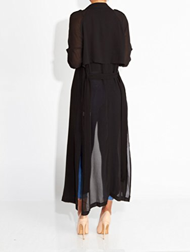 TenYid Elegante Gasa Abrigo Cardigan Mujer Largo Manga Larga Casual Fiesta Partido Clubwear Negro