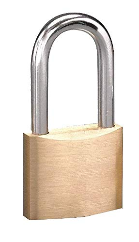 Different-Keyed Padlock, Open Shackle Type, 1-1/2'' Shackle Height, Brass- Pack of 5