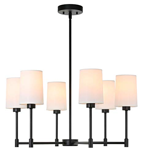 XiNBEi Lighting Chandeliers, 6 Light Chandelier with Fabric Shade, Modern Pendant Lighting Matte Black Finish for Living & Dining Room XB-C1215-6-MBK
