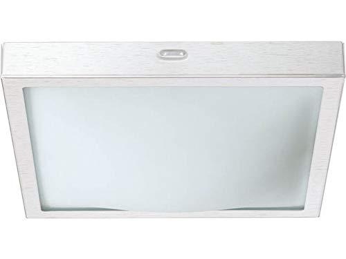 Applique da parete quadrato argento spazzolato e max w v