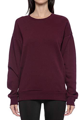 Urban Look Casual Loose Fit Fleece Pullover Sweatshirt (Medium, Solid Maroon)