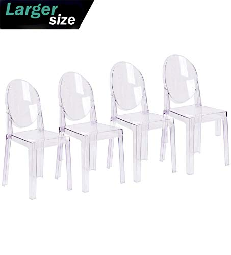 2xhome Set of 4 Large Size – Clear Crystal Mid Century Modern Contemporary Ghost Side Chair Dining Room Chair Victoria Accent Seat Living No Arms Wheels Armless With Back Transparent Guest Office Work ()