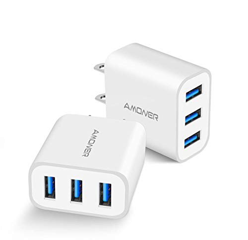 Wall Charger, Amoner Upgraded 2Pack 15W 3-Port USB Plug Cube Portable Wall Charger Plug for iPhone Xs/XS Max/XR/X/8/7/6/Plus, iPad Pro/Air 2/Mini 2, Galaxy9/8/7, Note9/8, LG, Nexus and More