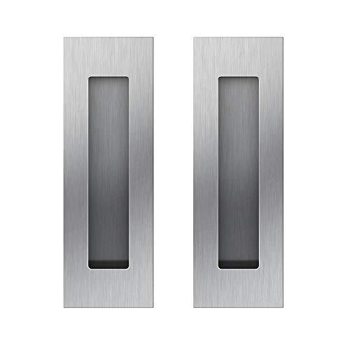 Funsmore FlushPull Handle 6 inch Rectangular Flush Recessed Sliding Door Pull Handles for Barn Door Hardware 2 Pack Silver by Funsmore