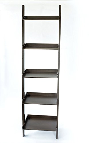 Ecolinear Unique 5-Tier Leaning Ladder Bookcase 65 Inch Tall, 5-Shelf Bookshelf Expresso-Brown
