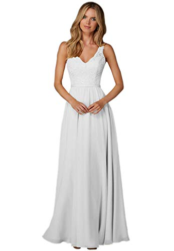 Women's V-Neck A-line Floor Length Chiffon Formal Party Dress Long Evening Gown Lace Bodice White Size 12