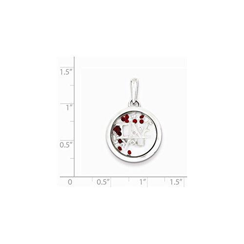 Sterling Silver Rhodium-plated I Love You & Floating Glass Beads Pendant by JOlivers (Image #1)