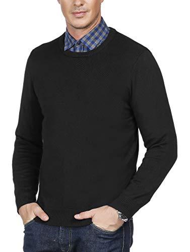 Crew Ribbed Sweater - PAUL JONES Men's Soft Long Sleeve Crew Neck Ribbed Edge Pullover Sweater Size L Black