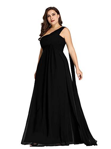Ever-Pretty Womens Plus Size Chiffon Floor-Length Wedding Guest Dresses for Women Black US 18