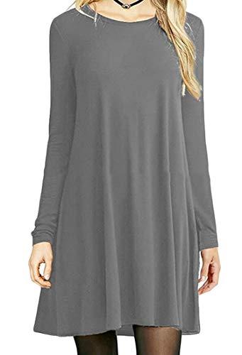 Crewneck Domple Plain Shirt Women's Deep Mini Gray Dress Sleeve Long Stylish Tunic BY8IqprYn