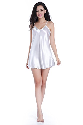 White Silk Cloth (SexyTown Women's Mini Babydoll Sleepwear Short Slip Lingerie Solid Chemise Nightgown Small White)