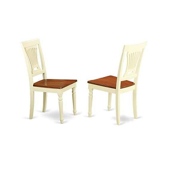 East West Furniture PVC WHI W Plainville dining chair set of 2 Wooden Seat and Buttermilk Solid wood Frame wooden dining chairs - Plainville Kitchen dining Chair Wood Seat - Buttermilk and Cherry Finish Exceptionally high quality kitchen chairs produced all very solid Asian wood. No MDF, heat treated wood, particle aboard or venner used. Finish in Buttermilk & Cherry color with Wood seat - kitchen-dining-room-furniture, kitchen-dining-room, kitchen-dining-room-chairs - 31aFS4m mTL. SS570  -