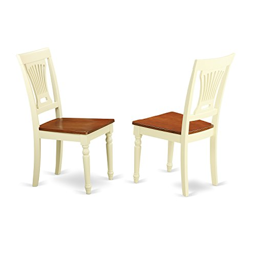 East West Furniture PVC-WHI-W Kitchen/Dining Chair Set Wood Seat, Buttermilk/Cherry Finish, Set of - Finish Buttermilk