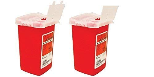 Medline Phlebotomy Sharps Containers Biohazard Needle Disposal 1 Qt Size - 2 Pack ()