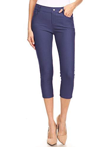 BENNY & LOUIE Women's Cotton Blend Stretchy Skinny Jeggings Pants 817 Denim Blue M