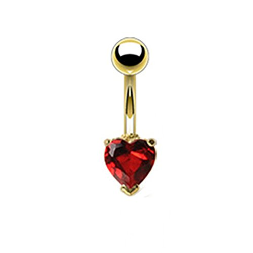 Azzire Gold Plated 316L Stainless Steel with Heart Shaped 6mm Red Cubic...