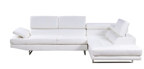 Furniture of America Keen Bonded Leather Sectional Sofa with Adjustable Headrests, White