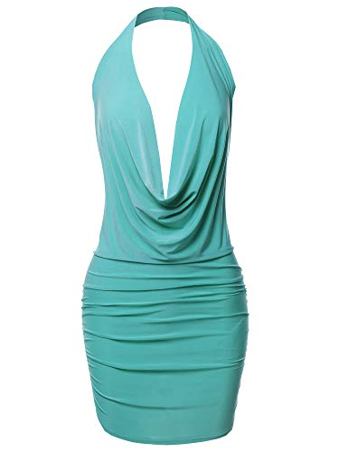 Made by Emma Sexy Halter Neck Ruched Bodycon Backless Party Cocktail Mini Dress Jade M