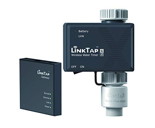 LinkTap G2 Wireless Water Timer & Gateway & Flow Meter – Remote Hose Timer for Lawns & Gardens – Easy-Install Cloud Controlled Watering with Smart Assistant & Real-Time Fault Detection & Notifications