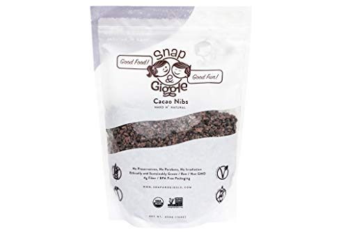 Snap and Giggle Raw Organic Cacao Nibs, Sugar Free Chocolate Chips, Excellent For Keto, Paleo, and Vegan Snacks, Natural Flavor, High in Fiber, Magnesium, and Iron, 454 Grams