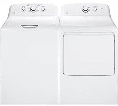 "GE White Laundry Pair with GTW330ASKWW 27"" Top Load Washer and GTX33GASKWW 27"" Front Load Gas Dryer"