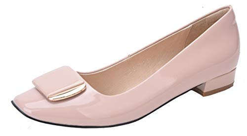 (Womens Low Chunky Block Heel Dress Pump Square Toe Slip On Genuine Leather Flats with Silver Decoration Nude Size US9.5 EU42)