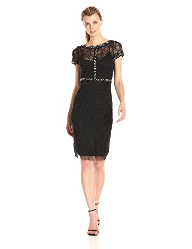 Aidan-by-Aidan-Mattox-Womens-Short-Sleeve-Beaded-Illusion-Dress