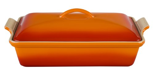 (Le Creuset Heritage Stoneware 12-by-9-Inch Covered Rectangular Dish, Flame)