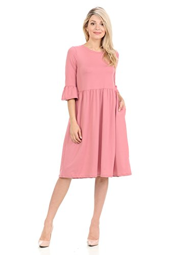 iconic luxe Women's Knit A-Line Midi Dress With Ruffle Sleeve Large Dusty Rose