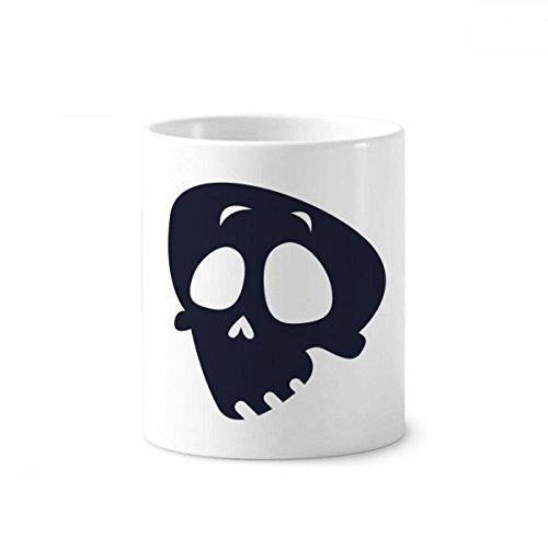 Helpless Emoji Halloween Skull Toothbrush Pen Holder Mug White Ceramic Cup -