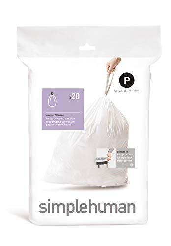 (simplehuman Code P Custom Fit Drawstring Trash Bags, 50 -60 L / 13-16 Gallon, 1 Refill Pack (20 Count))